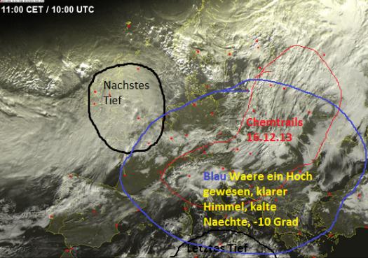 Hier sehen wir, dass die Chemtrails direkt in das Hochdruckgebiet gespruht wurden, das bedeutet haette dass Nordeuropa jetzt um die 15 Grad kaelter waere